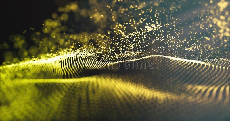 E 未来派蓝色小点背景 与金微粒和豪华闪耀的波浪的数据技术 免版税库存照片