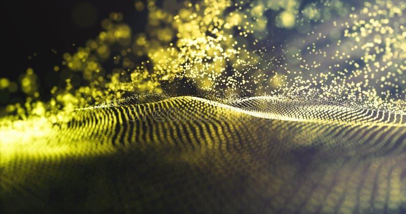 E 未来派蓝色小点背景 与金微粒和豪华闪耀的波浪的数据技术 库存照片