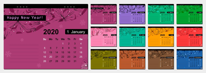 E 桌面任命日历,在与装饰品的颜色背景 皇族释放例证