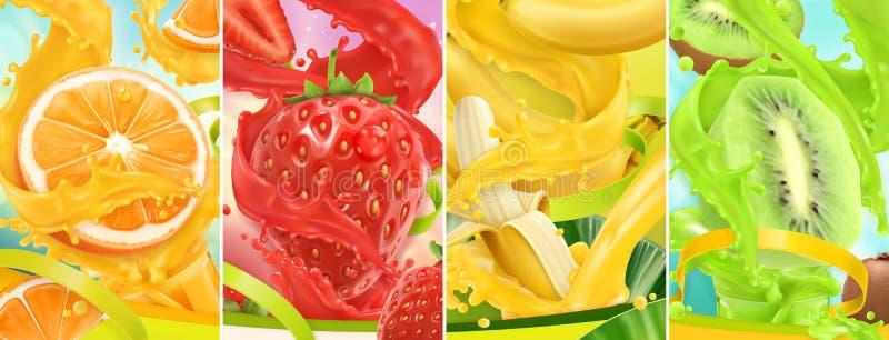 E 桔子,草莓,香蕉,猕猴桃 r 3d传染媒介集合 库存例证