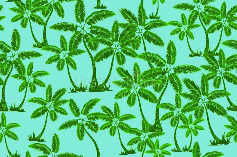 E 棕榈树夏天不尽的手拉的传染媒介背景可以为墙纸使用,包裹 向量例证