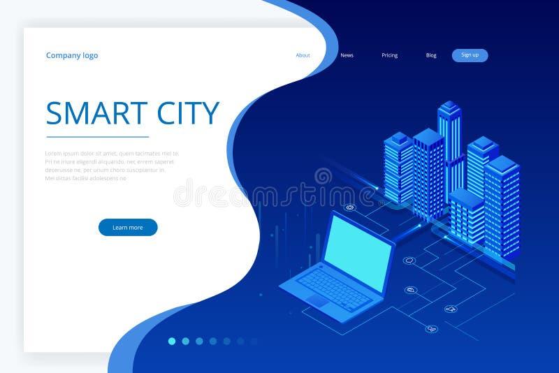 E 概念网站模板 有聪明的服务和象的,事,网络互联网聪明的城市  皇族释放例证