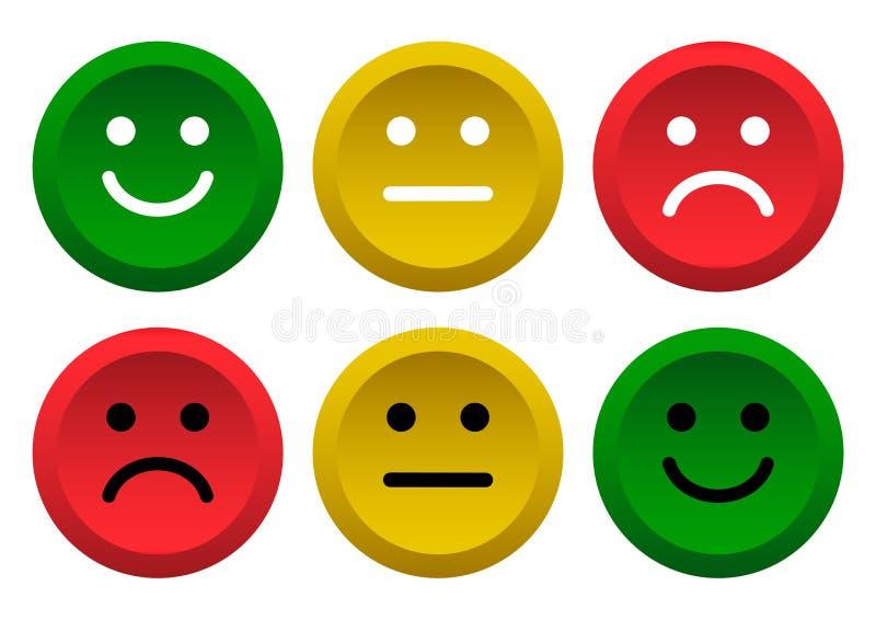 E 消极绿色,黄色,红色面带笑容意思号的象正面,中立和 r 皇族释放例证