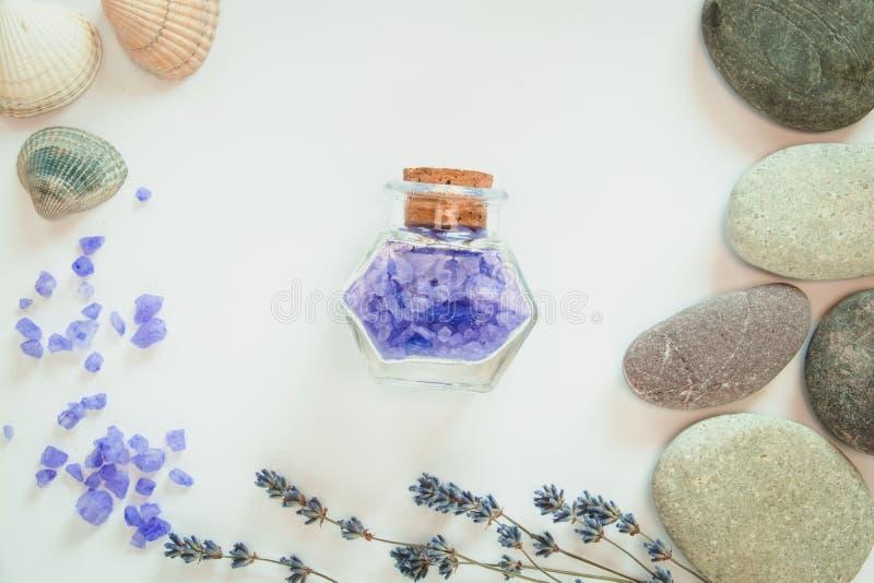 E 淡紫色、装饰瓶、贝壳和石头Fowers在白色背景 r 库存图片