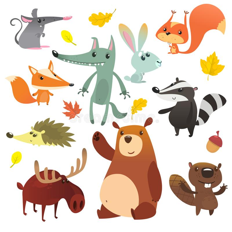 E 滑稽的动画片动物集合 皇族释放例证