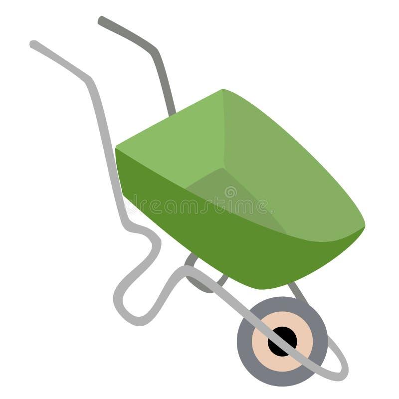 E 独轮车庭院,大厦 在家庭的一件必要的事 对物品的运输 ?? 向量例证