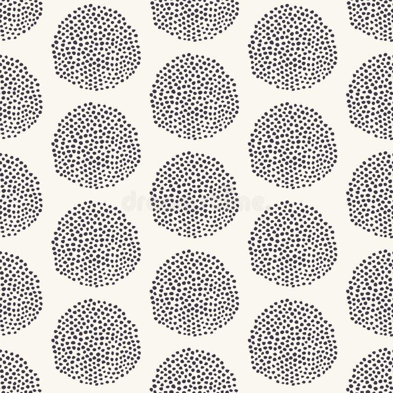 E 现代几何手拉的种子圈子 重复抽象多斑点的背景 有机圆点构造了 库存例证