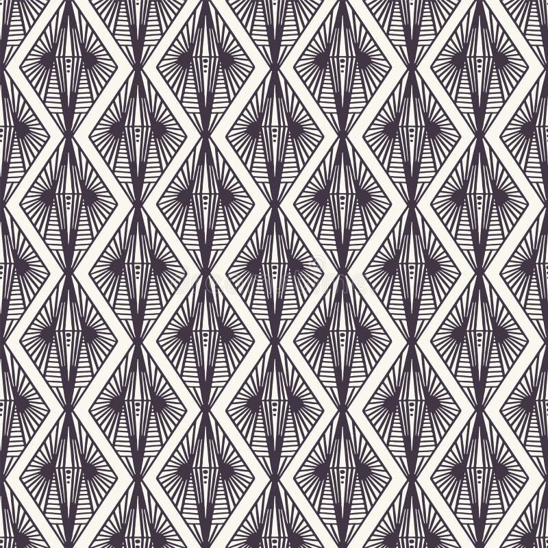 E 现代几何手拉的金刚石锦缎 重复抽象线性线背景 ?? 免版税库存图片