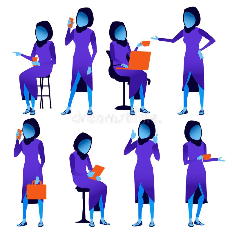 E 现代梯度颜色 人不同的姿势 企业字符 美丽的人员 被隔绝的舱内甲板 向量例证
