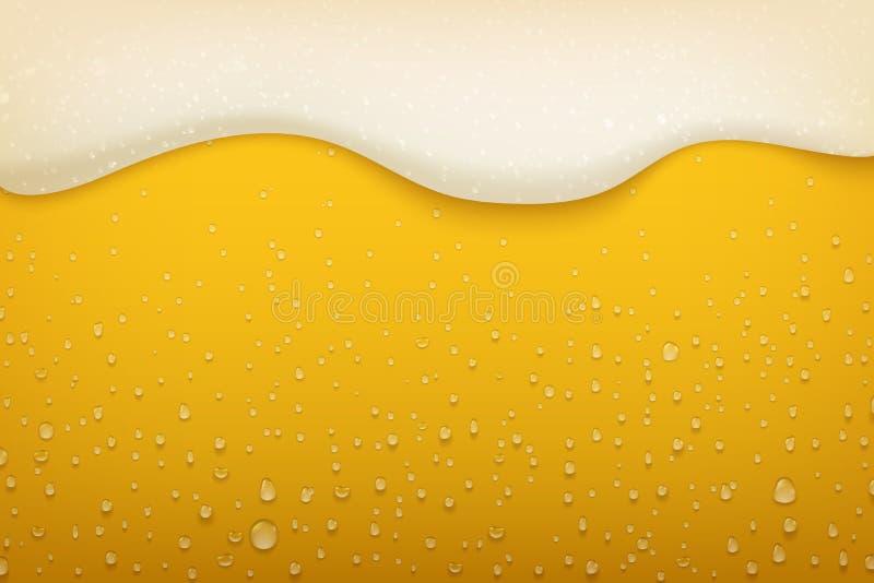 E 现实工艺啤酒泡影凝析油和流动的泡沫、啤酒节日和党海报背景 ?? 库存例证