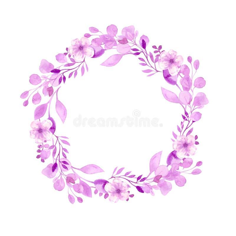 E 用手画的水彩 桃红色水彩花,和 皇族释放例证