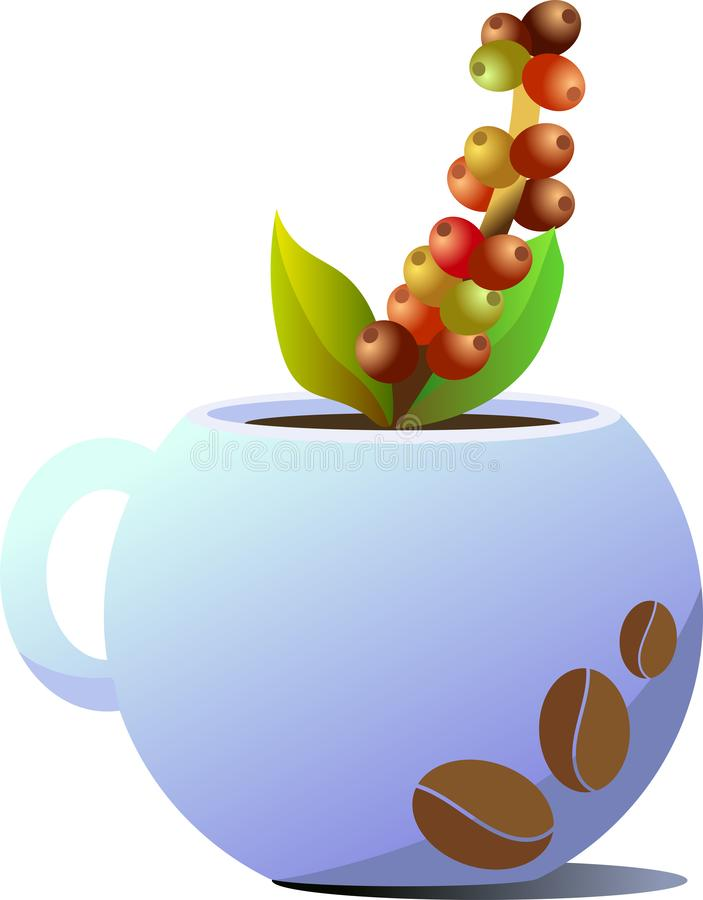 E 画以咖啡豆的形式 在杯子外面的咖啡树棍子小树枝  免版税库存照片