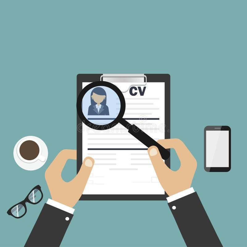 E 简历或履历 人选择  人适用于工作 r 皇族释放例证