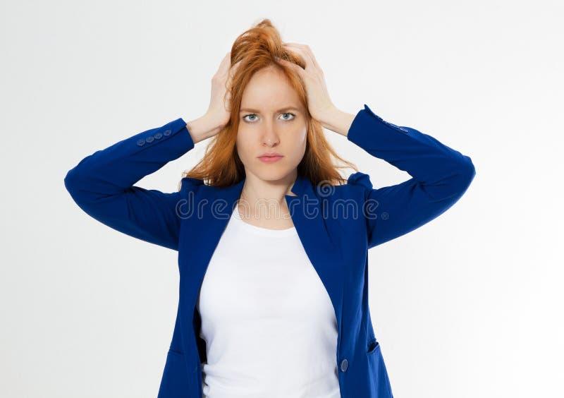 E 红头发人遭受女孩头疼没弄翻企业面孔棕榈 ??  库存图片