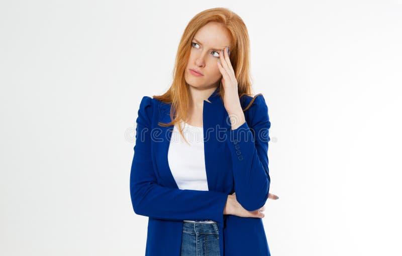 E 红头发人遭受女孩头疼没弄翻企业面孔棕榈 ??  库存照片