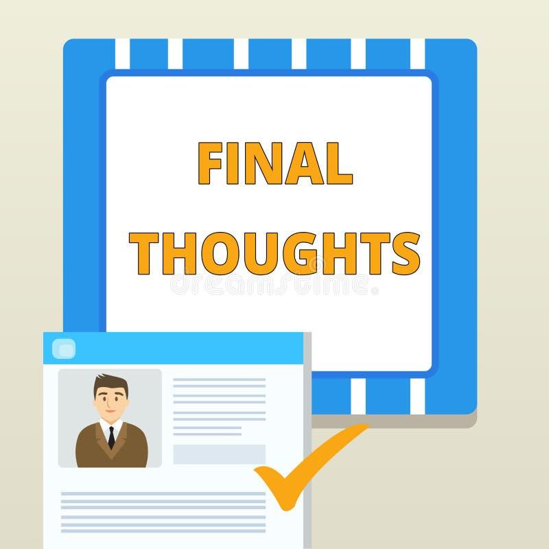 E 结论的企业概念或在您的结论内的最后几个句子 向量例证