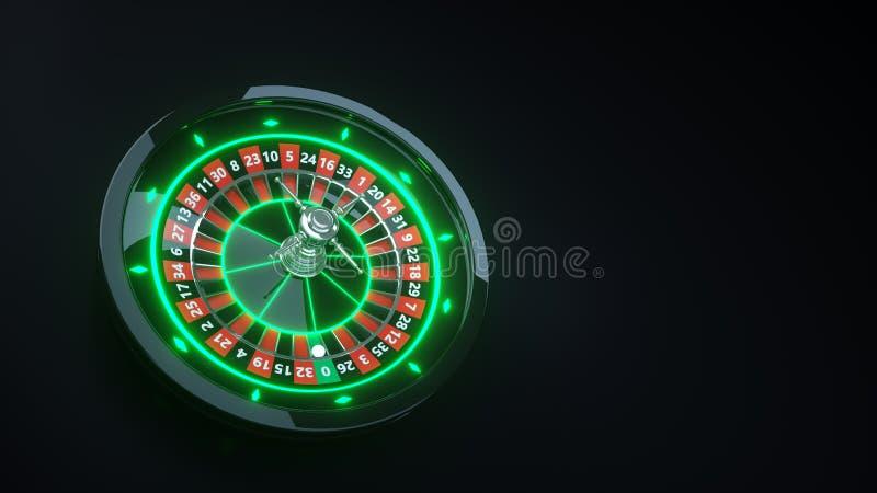 E 网上赌博娱乐场轮盘赌3D现实与霓虹灯- 3D例证 皇族释放例证