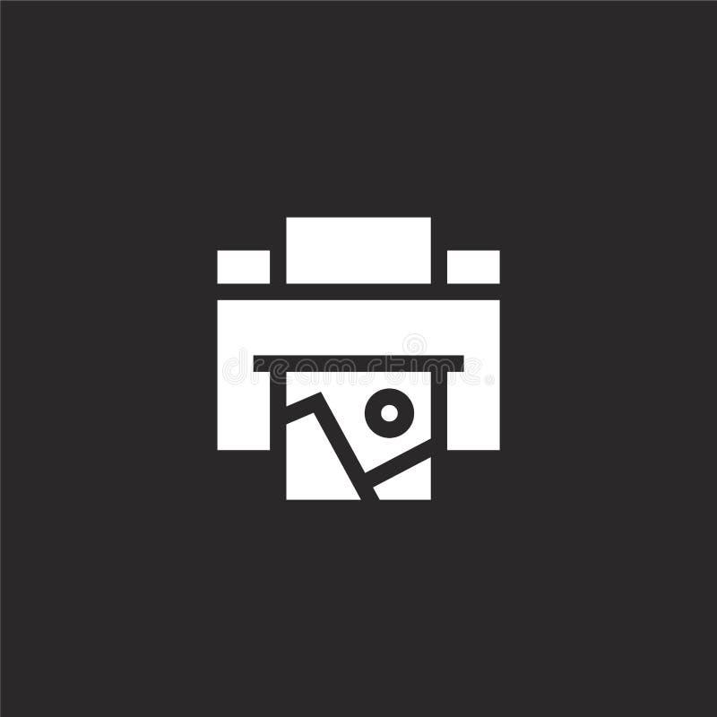 E 网站设计和机动性的,应用程序发展被填装的打印机图标 从被填装的摄影收藏的打印机图标 皇族释放例证