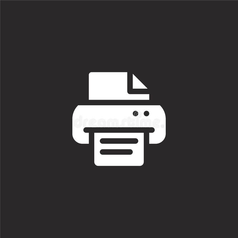 E 网站设计和机动性的,应用程序发展被填装的打印机图标 从被填装的新闻收藏的打印机图标 向量例证