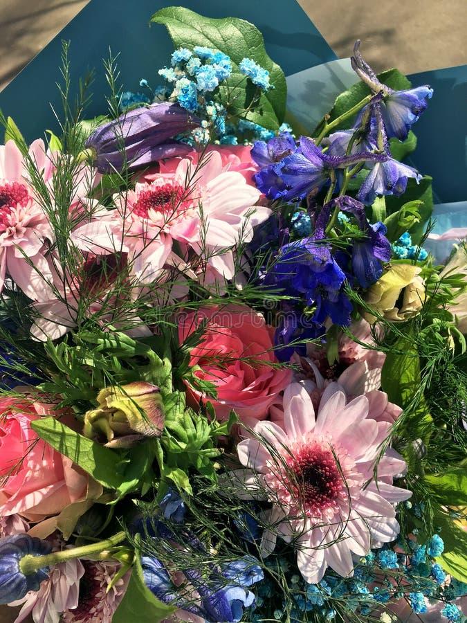 E 花花束包括桃红色菊花,美丽的蓝色翠雀,桃红色玫瑰 免版税图库摄影
