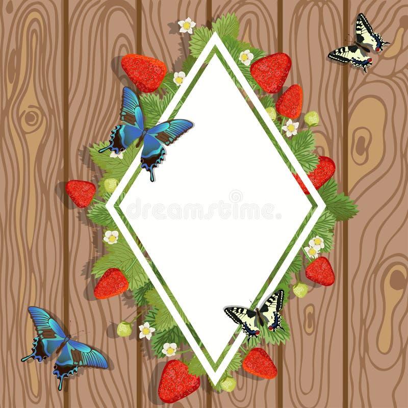 E 草莓与叶子、花和蝴蝶的语篇框架图的传染媒介例证在木背景 库存例证