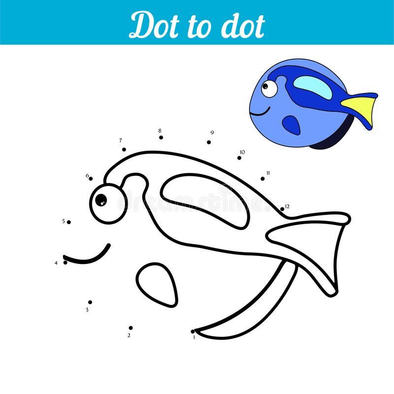 E 蓝色鱼 连接小点并且上色图片 E 发现暗藏的要人 上色的页 库存例证