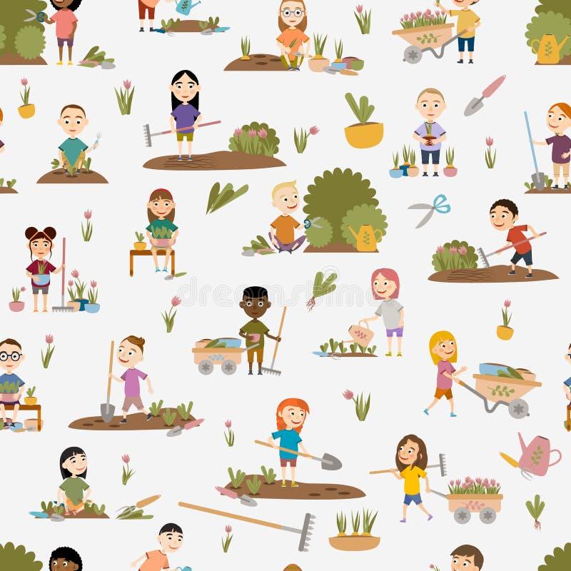 E 逗人喜爱的女孩和男孩以各种各样的姿势庭园花木,杂草床,浇灌的幼木,修剪的灌木和树, 皇族释放例证