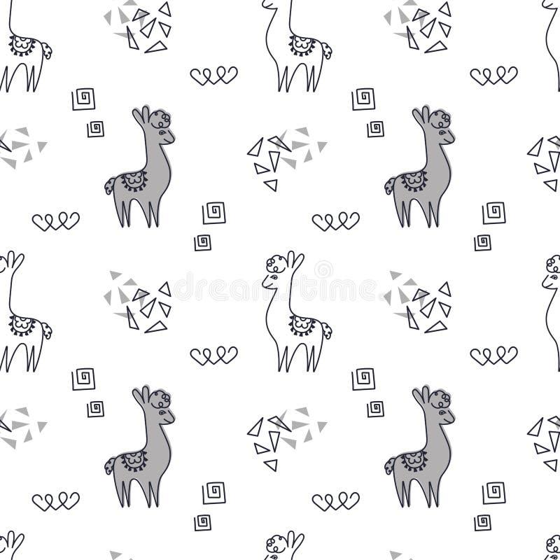 E 逗人喜爱的骆马或羊魄在白色背景 o 库存例证