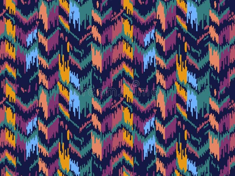 E 部族种族传染媒介纹理 在阿兹台克样式的条纹图形 Ikat几何民间传说装饰品 免版税库存图片