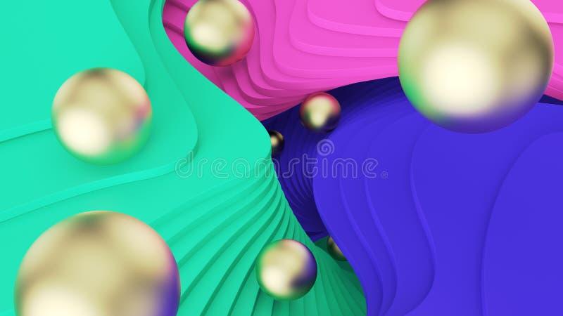 E 金黄球在绿色,桃红色和蓝色步滚动 荧光的现实和平行的世界 3d?? 向量例证