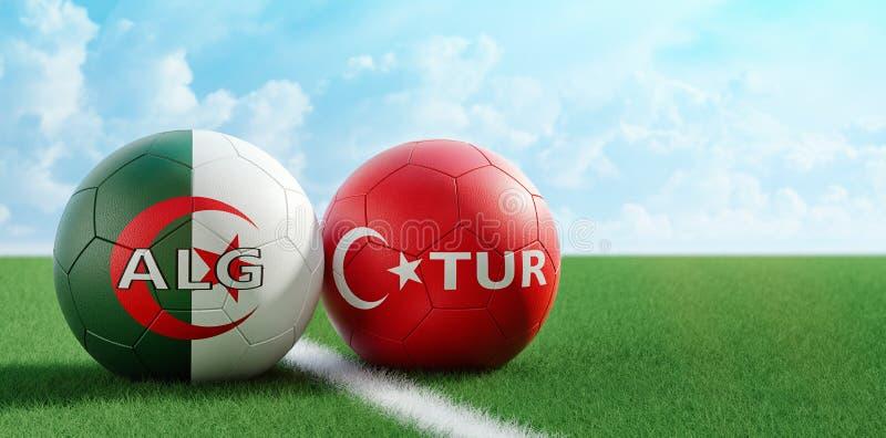 E 阿尔及利亚足球比赛-足球在土耳其和在足球场的阿尔及利亚的全国颜色 库存例证