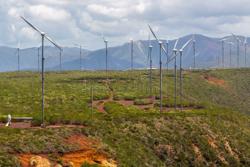 E 风力植物 turnbines风 免版税库存照片