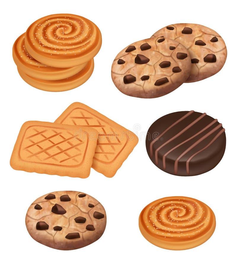 E 饼干用巧克力和快餐导航煮熟的甜点的奶油色片断导航现实模板 库存例证