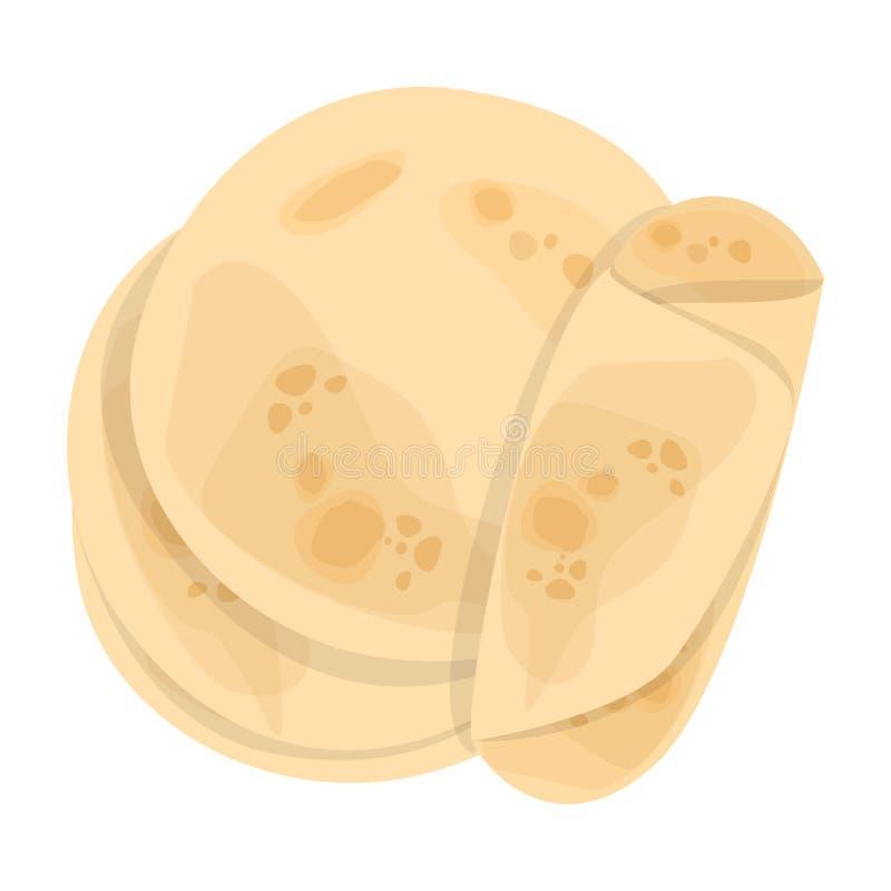 E 鲜美食物,可口手工制造膳食 新鲜的玉米粉薄烙饼 向量例证