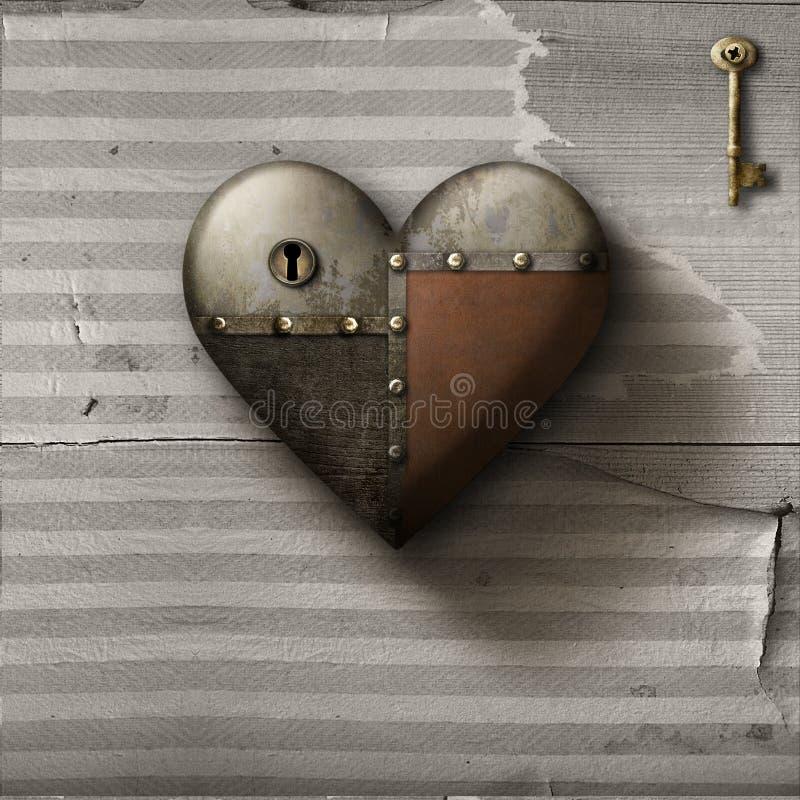 Металлическое залатанное сердце с ключом на старом бумажном фоне иллюстрация вектора