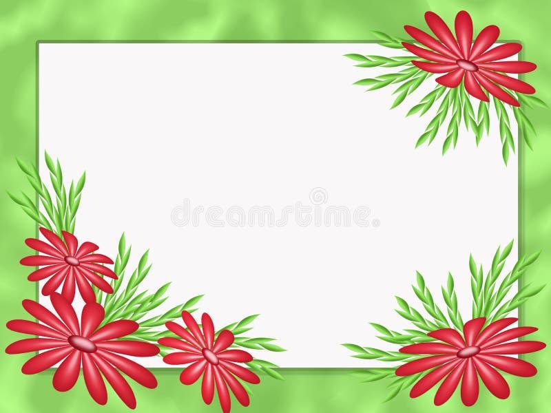 Красные абстрактные цветы на зеленой раме иллюстрация вектора