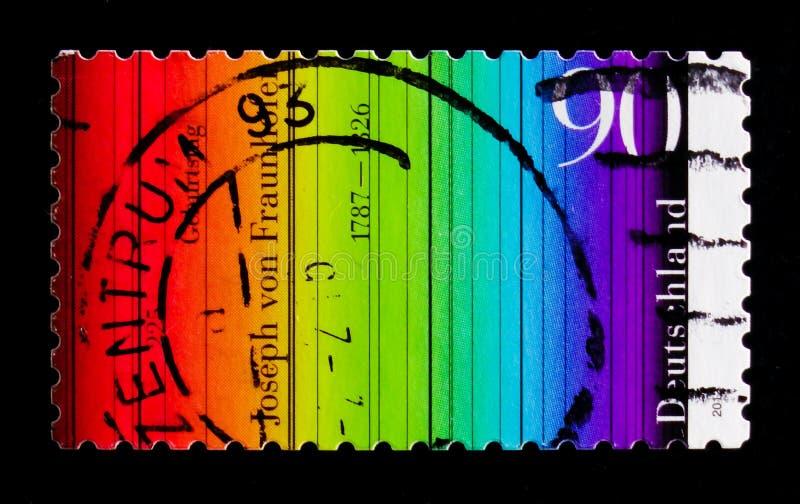 Цветной спектр, Джозеф фон Фраунхофер, 2012 год стоковое изображение
