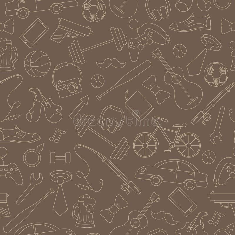 Безмолвная иллюстрация на тему мужских хобби и привычек, простой рисунок, нарисованный вручную на коричневом фоне иллюстрация штока