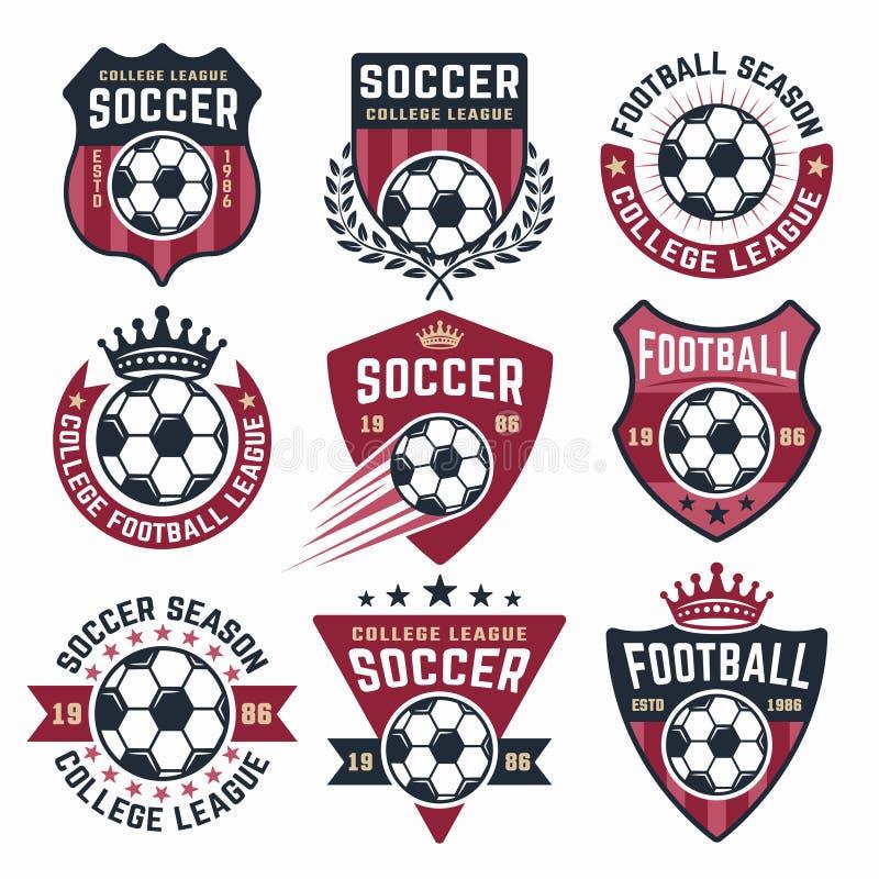 Футбольная векторная коллекция девяти цветных эмблем иллюстрация вектора