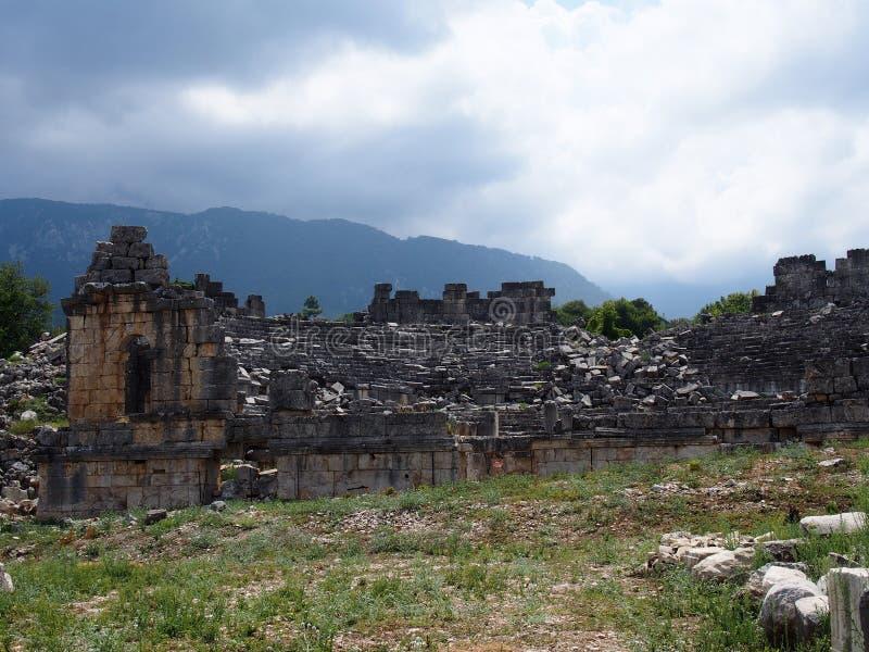 Театр древнего города Тлос-Фетхие стоковое изображение