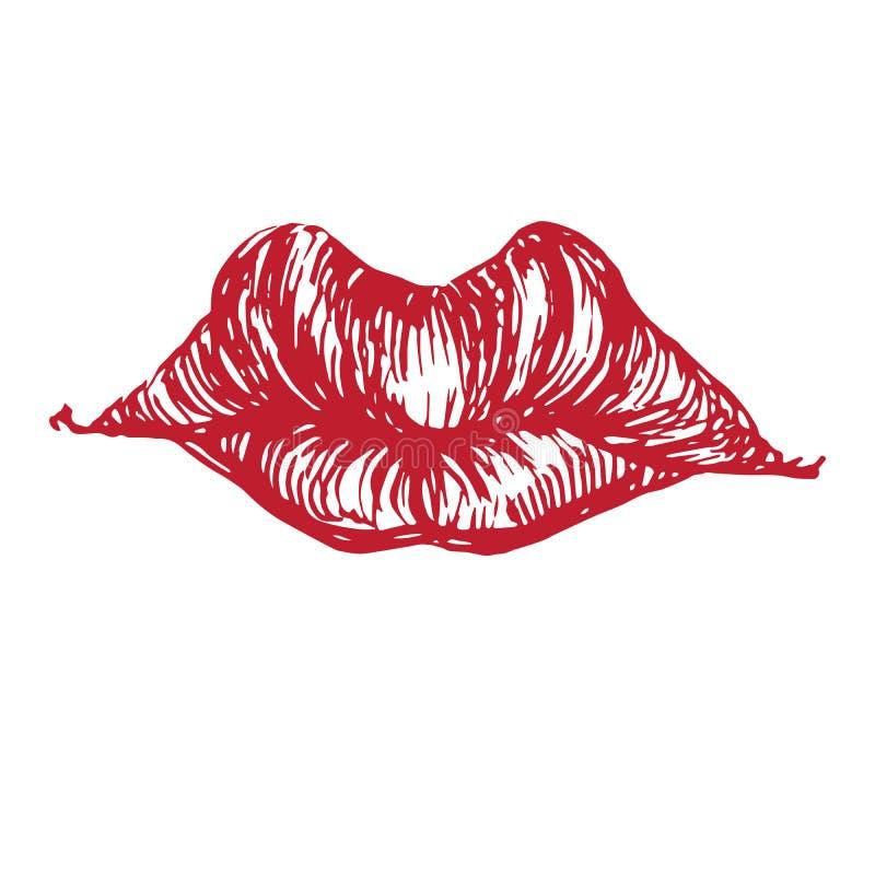 Красивые, губы с большими верхними губами, эмоционально веселые, игривые, сексуальные, деревообразные, ручной лапша бесплатная иллюстрация