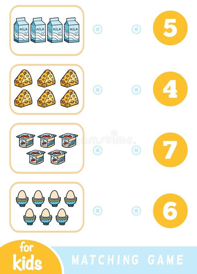 Ταιριάζοντας με παιχνίδι εκπαίδευσης Μετρήστε πόσα στοιχεία και επιλέξτε το σωστό αριθμό Ένα σύνολο τροφίμων απεικόνιση αποθεμάτων