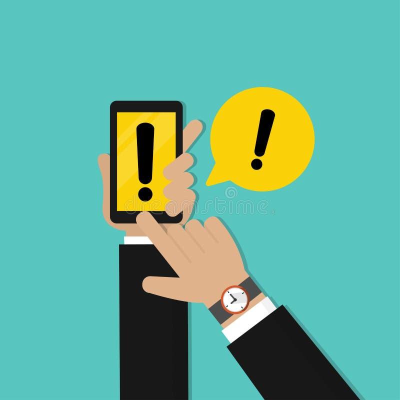拿着有黄色警告标记的商人手手机 E 向量例证