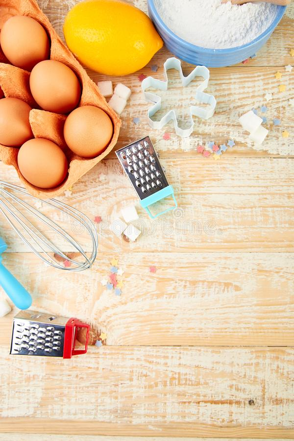 烘烤或烹调成份 面包店框架 点心成份和器物 库存照片