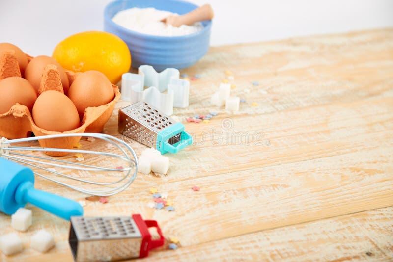 烘烤或烹调成份 面包店框架 点心成份和器物 免版税库存图片