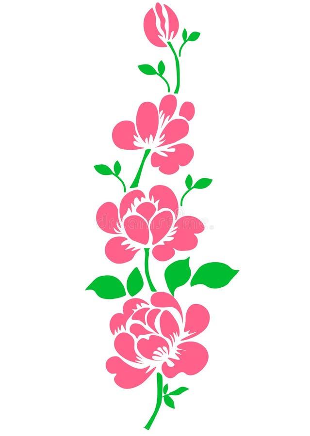 ? 桃红色上升了 在白色背景的被隔绝的花束庭院花 现实传染媒介例证艺术 E 向量例证
