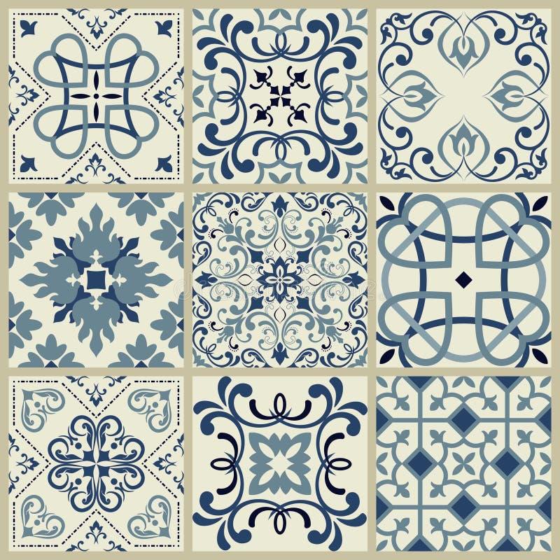西班牙或葡萄牙传染媒介瓦片样式,里斯本花卉马赛克,地中海无缝的水军蓝色装饰品 装饰瓦片 库存例证