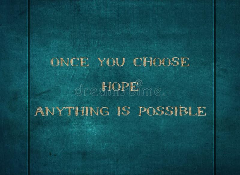 选择希望可能的信念任何印刷术类型 库存图片