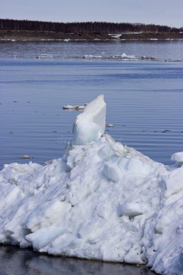 在河的冰漂泊 免版税库存图片