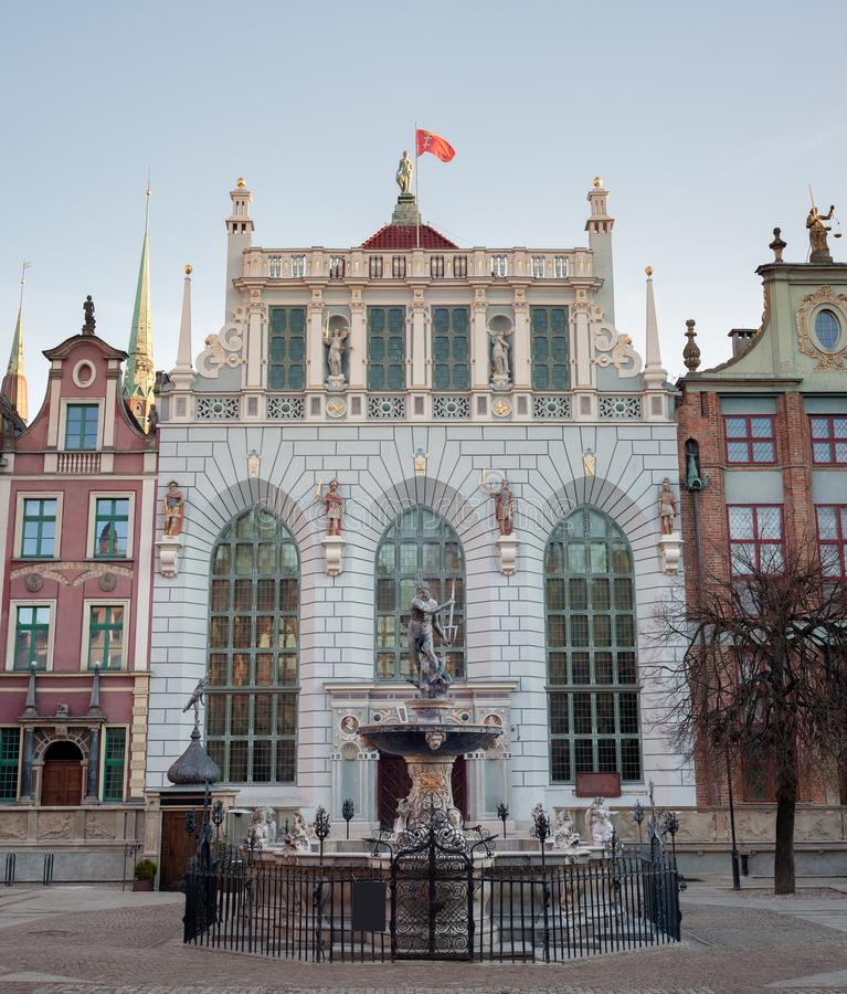 海王星的喷泉在格但斯克,波兰老镇  免版税库存图片